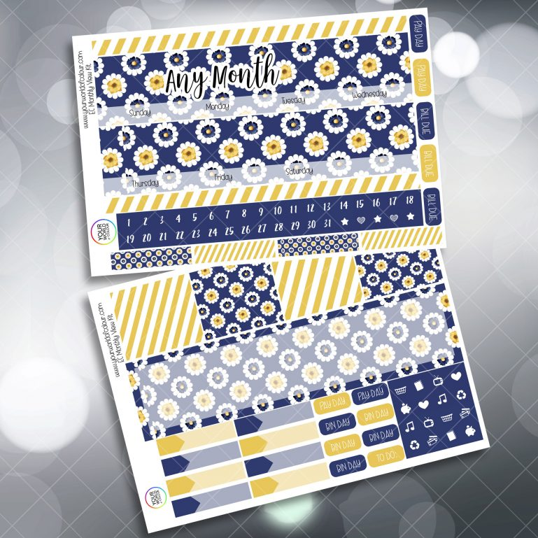 Navy Flowers Monthly Planner Sticker Kits