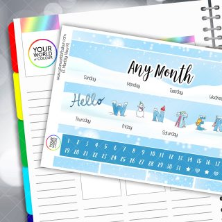 Hello Winter Monthly Planner Sticker Kit
