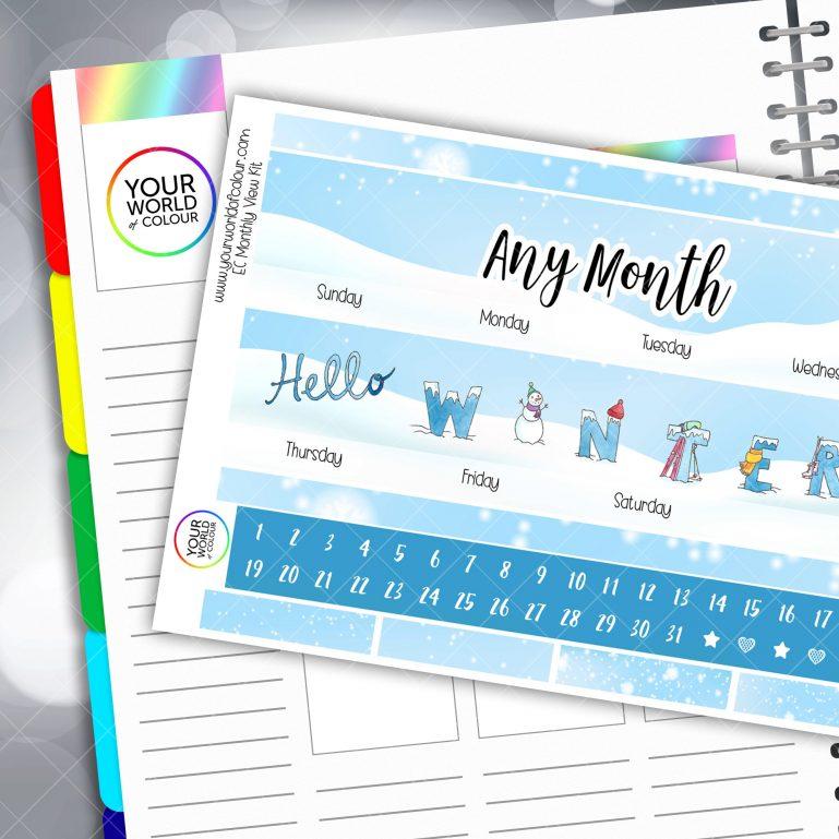 Hello Winter Monthly Planner Sticker Kit