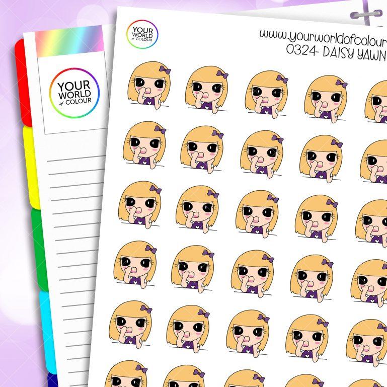 Yawn Daisy Character Stickers