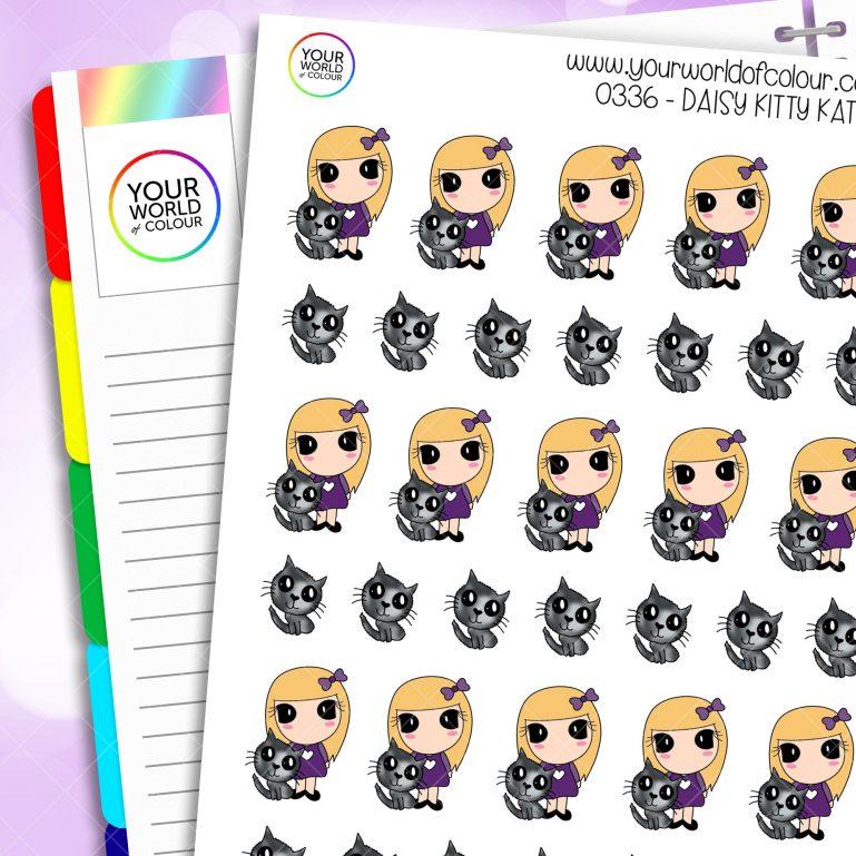 Kitty Kat Daisy Character Stickers