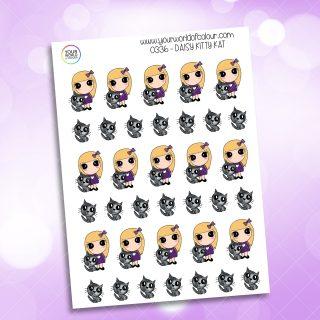 Kitty Kat Daisy Character Sticker