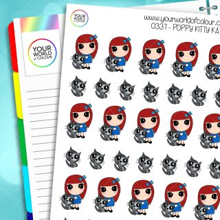 Kitty Kat Poppy Character Stickers