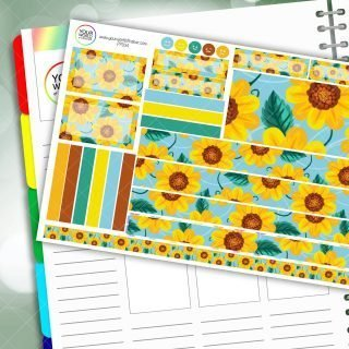 Sunflower Floral Passion Planner Daily Sticker Kit