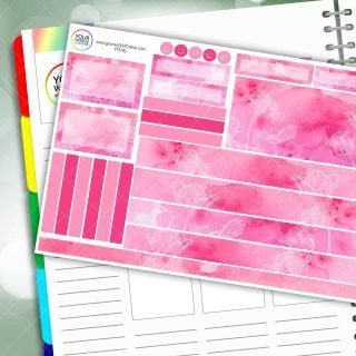 Pink Floral Watercolour Passion Planner Daily Sticker Kit
