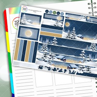Snowy Town Lights Passion Planner Daily Sticker Kit