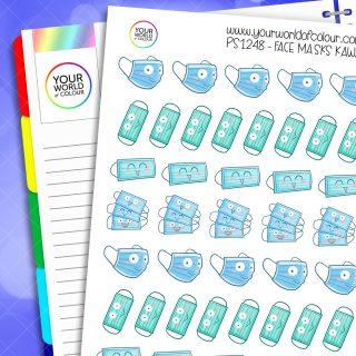 Face Masks Kawaii Planner Stickers