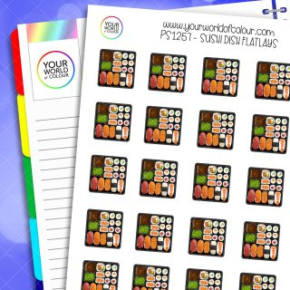 Sushi Dish Flatlay Planner Stickers