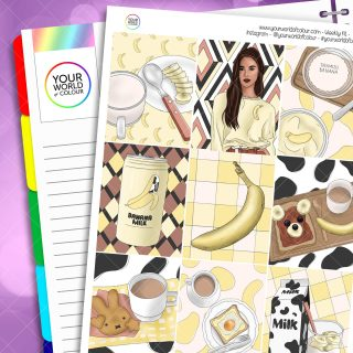 Banana Milk Weekly Planner Sticker Kit