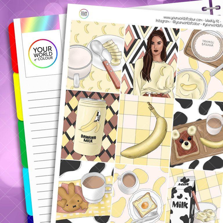 Banana Milk Weekly Planner Sticker Kit