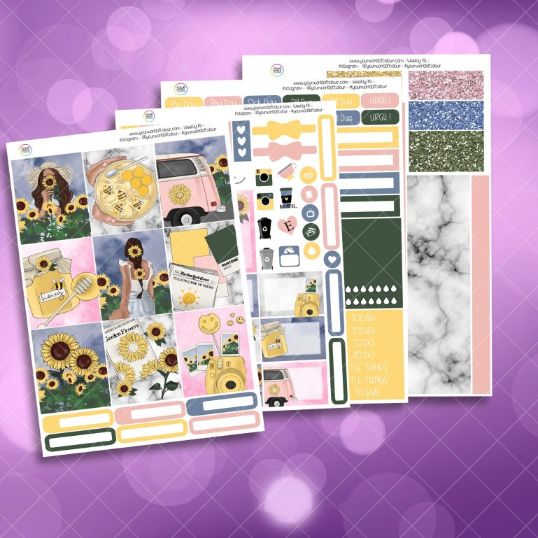 Sunflower Garden Full Four Sheet Weekly Planner Sticker Kit