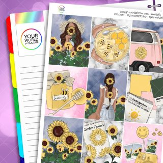 Sunflower Garden Weekly Planner Sticker Kit