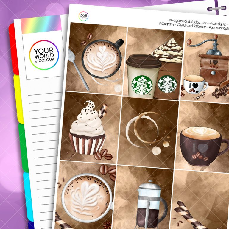 Coffee First Weekly Planner Sticker Kit