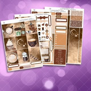 Coffee First Full Four Sheet Weekly Planner Sticker Kit