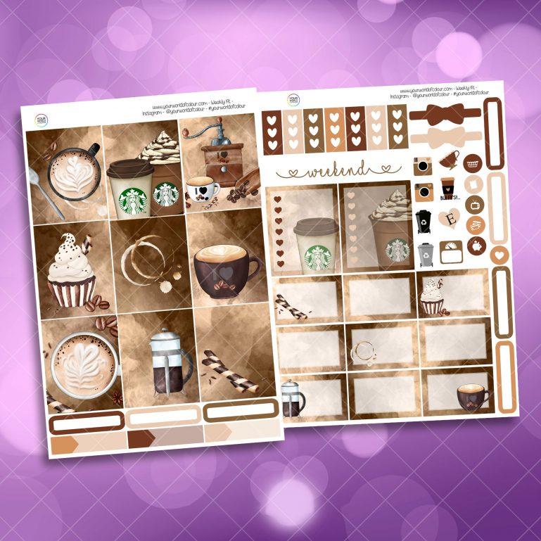Coffee First Two Sheet Weekly Planner Sticker Kit