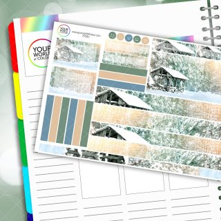 Winter Wooden House Passion Planner Daily Sticker Kit