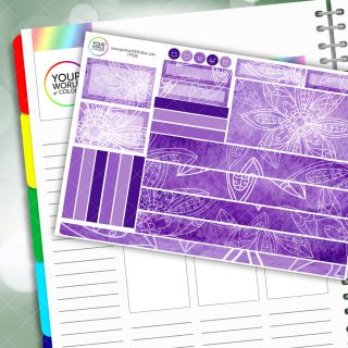 Purple Floral Moods Passion Planner Daily Sticker Kit
