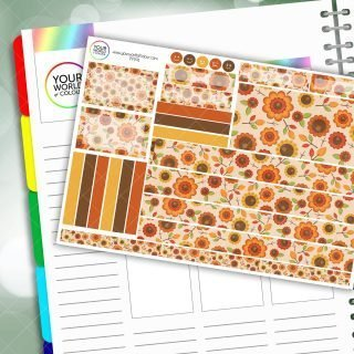 Autumn Flowers Passion Planner Daily Sticker Kit