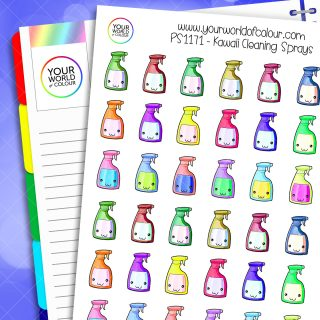 Kawaii Cleaning Spray Planner Stickers