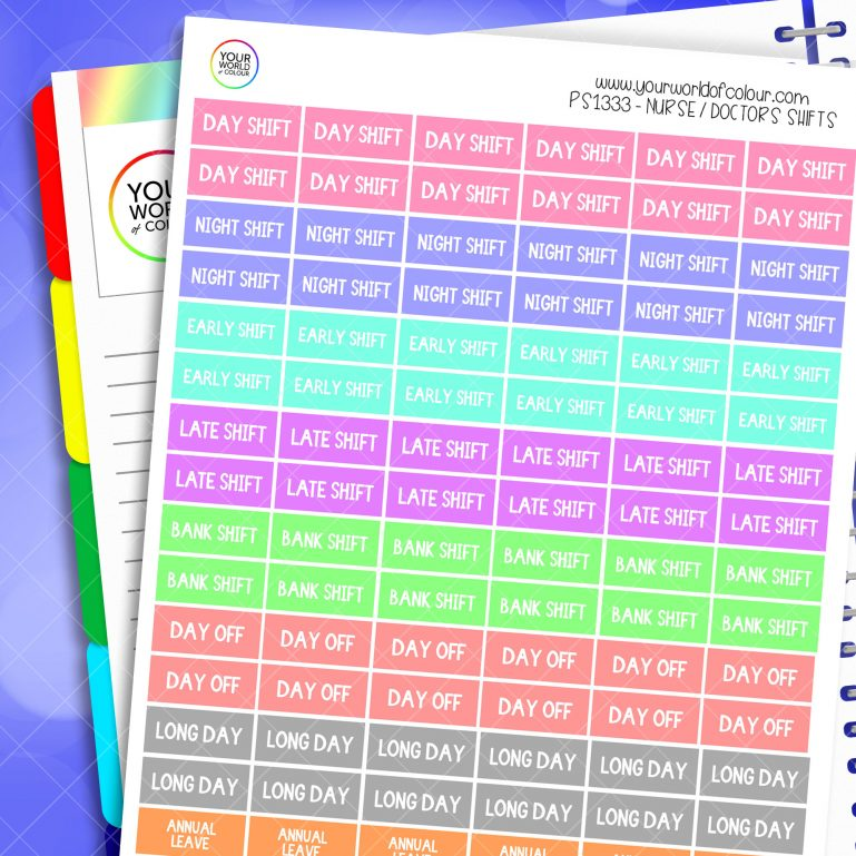 Doctor and Nurse Shift Planner Stickers