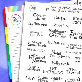 Halloween Movie Bucket List Planner Stickers