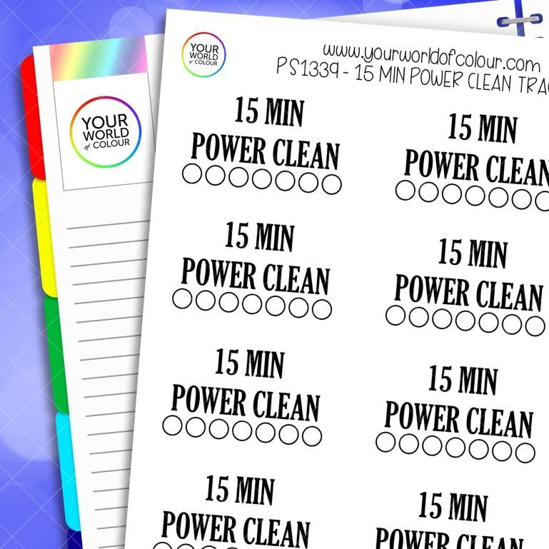 15 Min Power Clean Tracker Planner Stickers