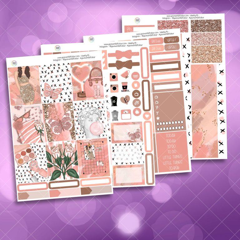 Just Peachy Full Four Sheet Weekly Planner Sticker Kit