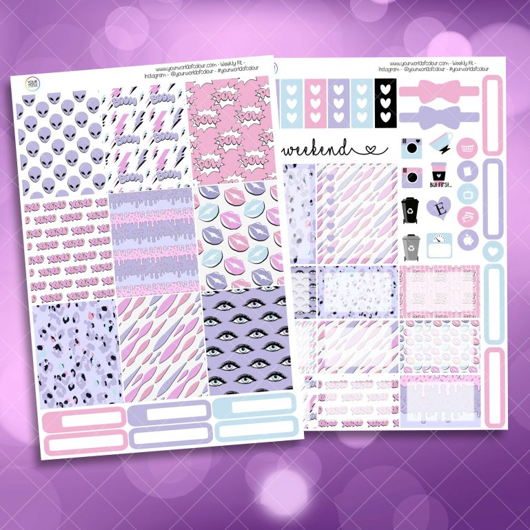 XOXO Alien Two Sheet Weekly Planner Sticker Kit