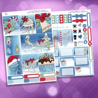 Christmas Sea Two Sheet Weekly Planner Sticker Kit