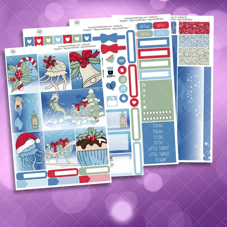 Christmas Sea Full Four Sheet Weekly Planner Sticker Kit