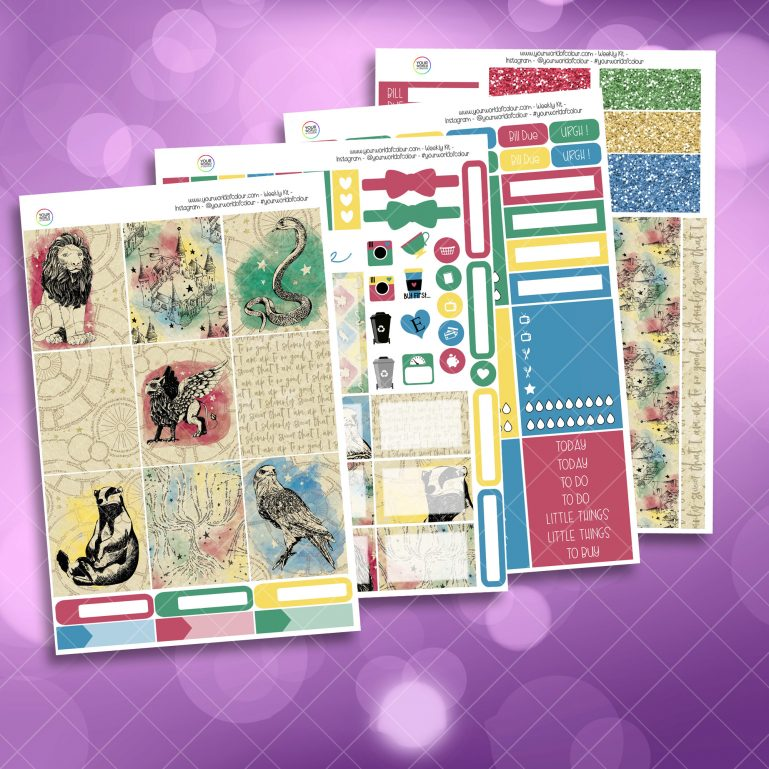 School Of Magic Houses Full Four Sheet Weekly Planner Sticker Kit