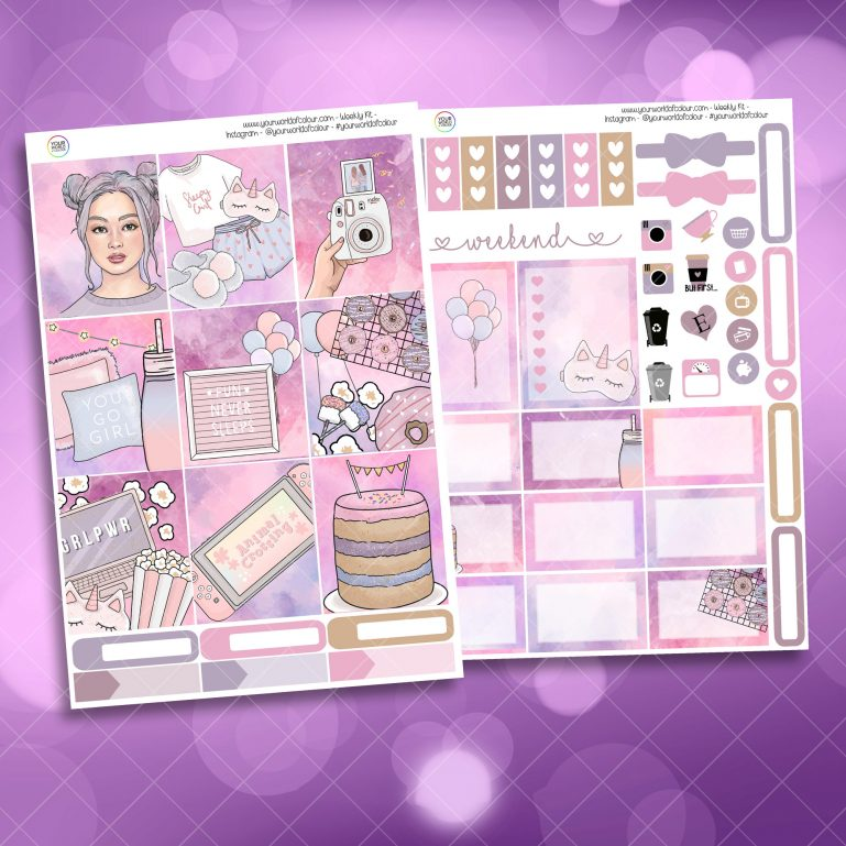 Slumber Party Two Sheet Weekly Planner Sticker Kit