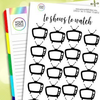 TV Shows Tracker Notes Page Planner Sticker Kit