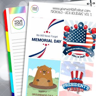USA Holidays Full Box Planner Stickers - Vol 1
