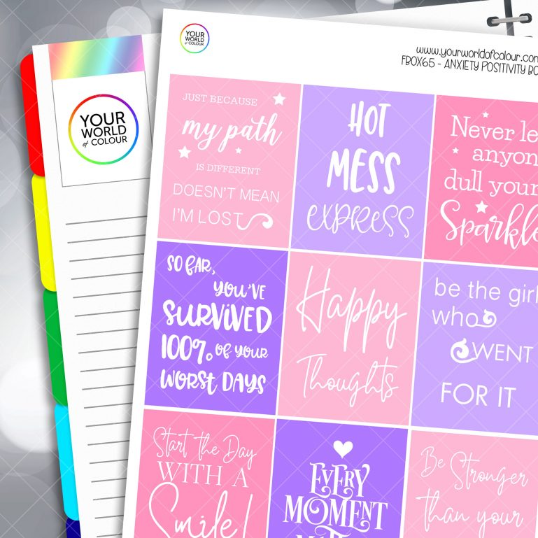 Anxiety Positivity Full Box Planner Stickers