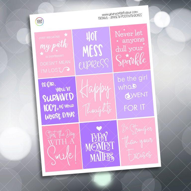 Anxiety Positivity Full Box Planner Sticker