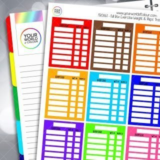 Exercise Weight & Reps Tracker Full Box Planner Stickers - Brights