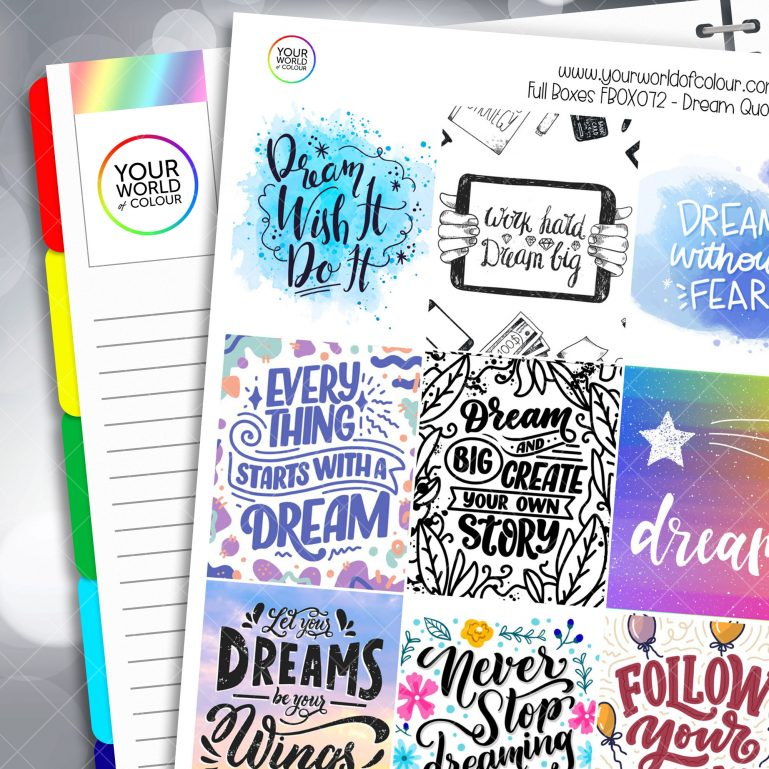 Dream Quotes Full Box Planner Stickers - Version Two
