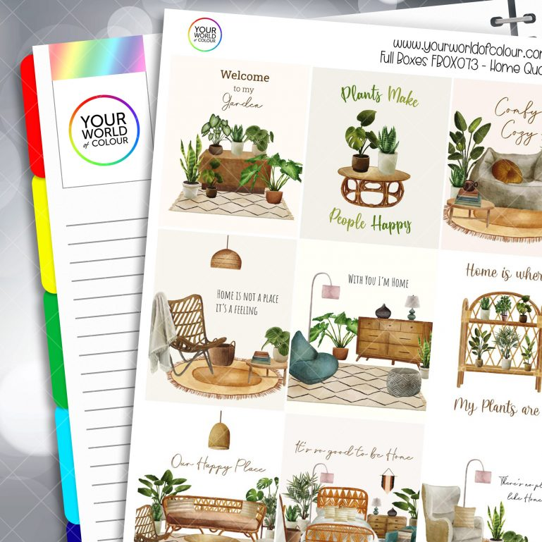 Home Quotes Full Box Planner Stickers