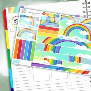 Rainbow Clouds Passion Planner Daily Sticker Kit