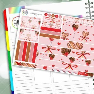 Chocolate Hearts Passion Planner Daily Sticker Kit