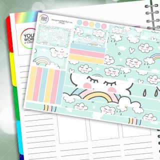 Pastel Rainbow Lashes Passion Planner Daily Sticker Kit
