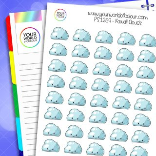 Kawaii Clouds Planner Stickers