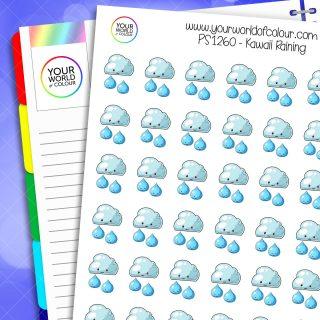 Kawaii Raining Planner Stickers