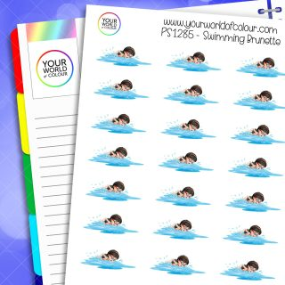 Swimming Planner Stickers - Brunette
