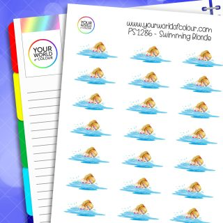 Swimming Planner Stickers - Blonde