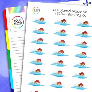 Swimming Planner Stickers - Red