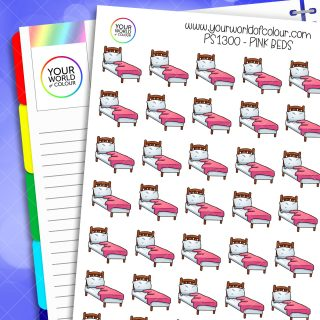 Pink Beds Planner Stickers
