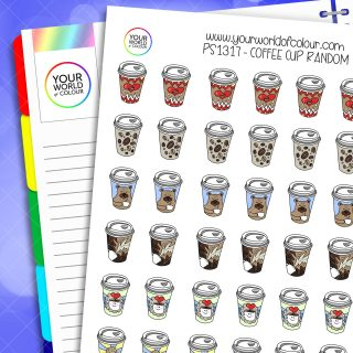 Coffee Cup Random Planner Stickers