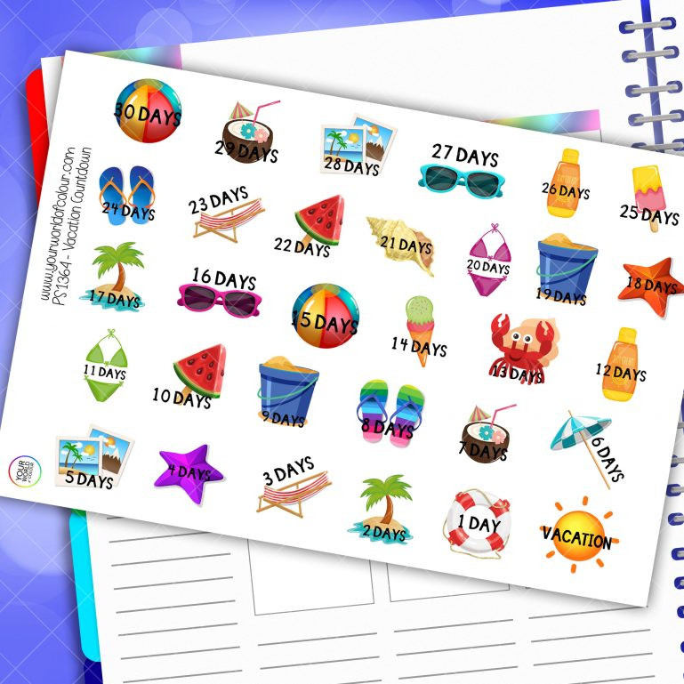Vacation Countdown Planner Stickers 2.0